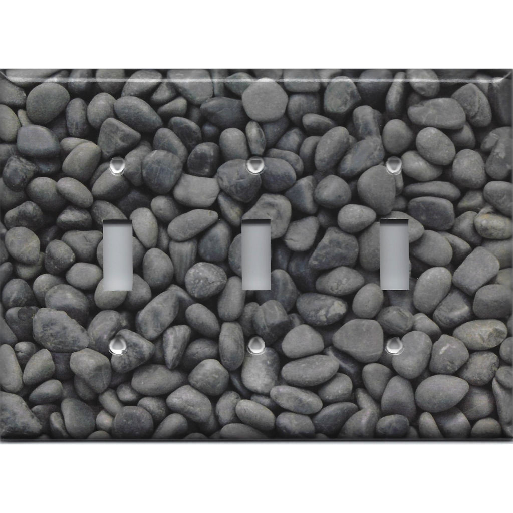 Triple Toggle Light Switch Cover in Slate Grey Stone River Pebbles Pattern