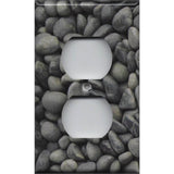 Wall Plate Outlet Cover in in Slate Grey River Pebbles Handmade- Simply Chic Gal