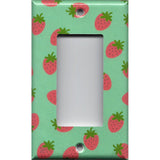 Single Rocker Decora GFI Outlet Cover in Pink Strawberries on Mint Green