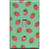 Single Toggle Light Switch Cover in Pink Strawberries on Mint Green Handmade- Simply Chic Gal