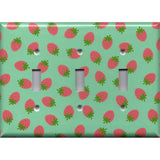 Triple Toggle Light Switch Cover in Pink Strawberries on Mint Green