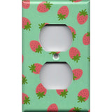 Wall Outlet Cover Pink Strawberries on Mint Green Handmade- Simply Chic Gal