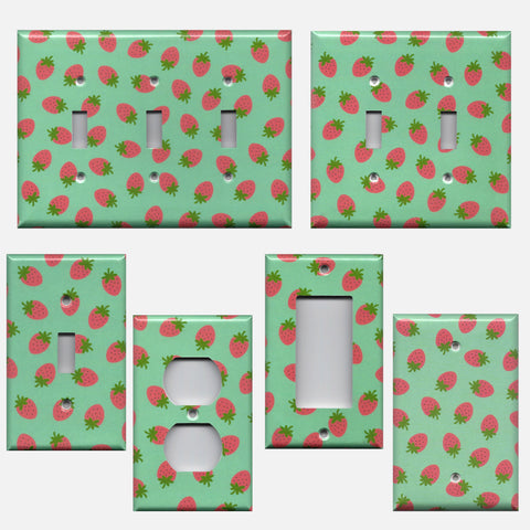 Pink Strawberries on Mint Green Handmade Light Switch & Outlet Covers