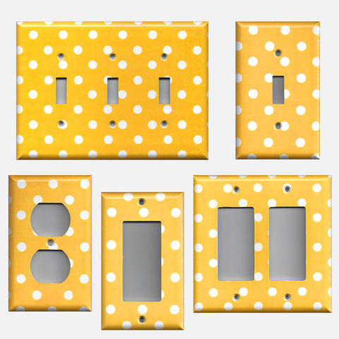 Deep Golden Yellow & White Polka Dots Handmade Light Switch & Outlet Covers- Simply Chic Gal