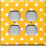 4 Plug Outlet Cover in Deep Golden Yellow & White Polka Dots Simply Chic Gal
