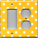 Combo Rocker and Outlet Cover in Deep Golden Yellow & White Polka Dots Simply Chic Gal