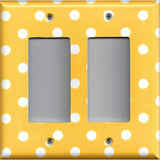 Double Rocker Decora Light Switch Cover in Deep Golden Yellow & White Polka Dots Simply Chic Gal