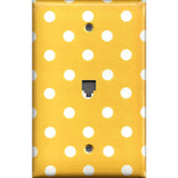 Phone Jack Cover in Deep Golden Yellow & White Polka Dots Simply Chic Gal