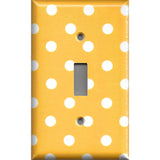 Single Toggle Light Switch Cover in Deep Golden Yellow & White Polka Dots Simply Chic Gal