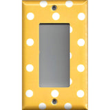 Single Rocker Decora GFI Outlet Cover in Deep Golden Yellow & White Polka Dots Simply Chic Gal