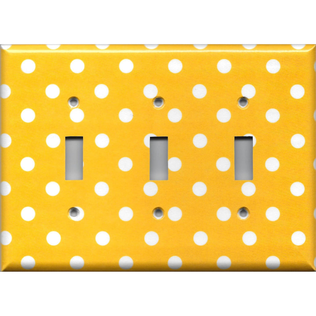 Triple Toggle Light Switch Cover in Deep Golden Yellow & White Polka Dots Simply Chic Gal