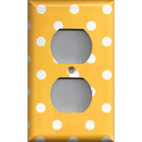Wall Outlet Plate Cover in Deep Golden Yellow & White Polka Dots Simply Chic Gal