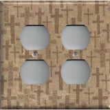 4 Plug Outlet Cover in Tan Brown Distressed Crosses- Handmade Home Decor- Simply Chic Gal