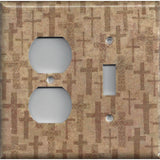 Combo Outlet and Light Switch Cover in Tan Brown Distressed Crosses- Home Decor- Simply Chic Gal