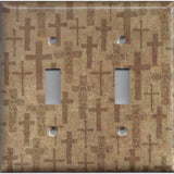 Tan Brown Distressed Crosses Double Toggle Light Switch Cover- Handmade Home Decor- Simply Chic Gal