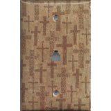 Tan Brown Distressed Crosses Phone Jack Cover- Handmade Home Decor- Simply Chic Gal