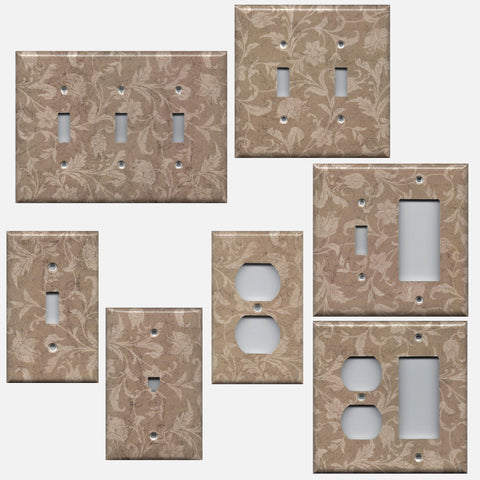 Farmhouse Decor Tan Brown Floral Handmade Light Switch Plates & Outlet Covers- Simply Chic Gal