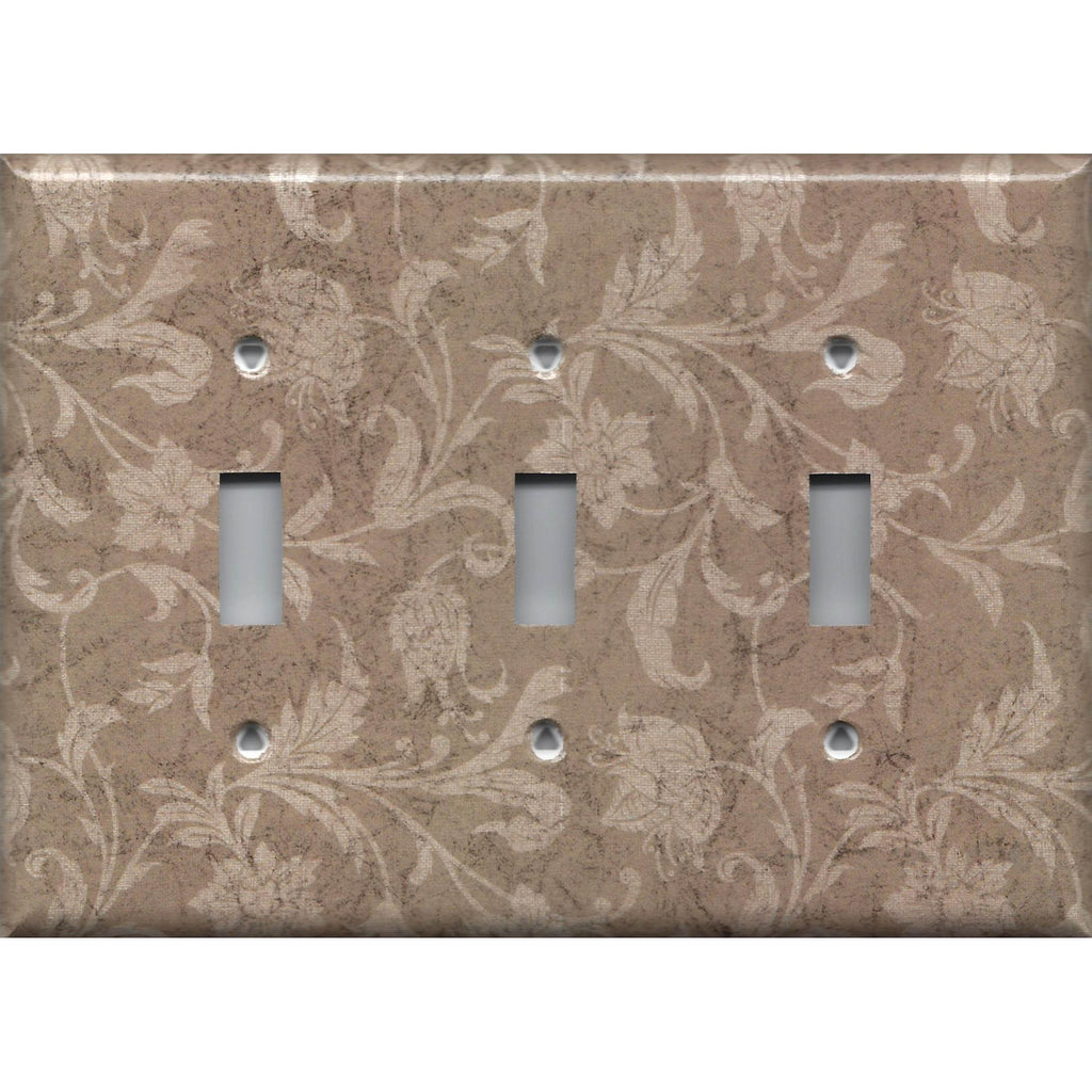 Triple Toggle Light Switch Cover in Farmhouse Decor Tan Brown Floral Handmade- Simply Chic Gal