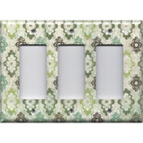 Triple Rocker Decora Light Switch Cover in Teal Sage Green Maroon Distressed Medallions