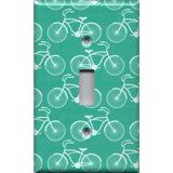 Single Toggle Light Switch Cover in Teal Bicycle Print Farmhouse Decor