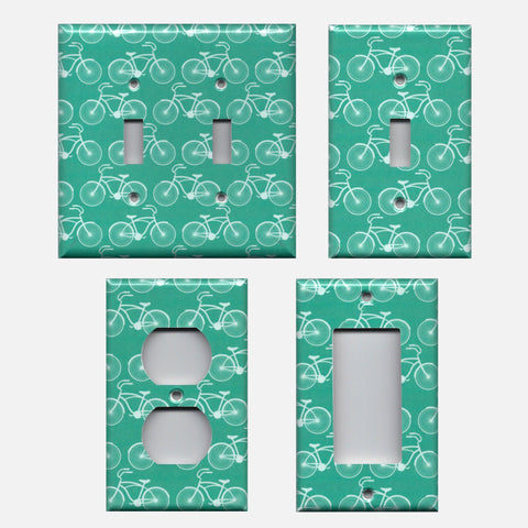 Teal Bicycle Print Farmhouse Decor Rustic Country Light Switch Plates and Wall Outlet Covers