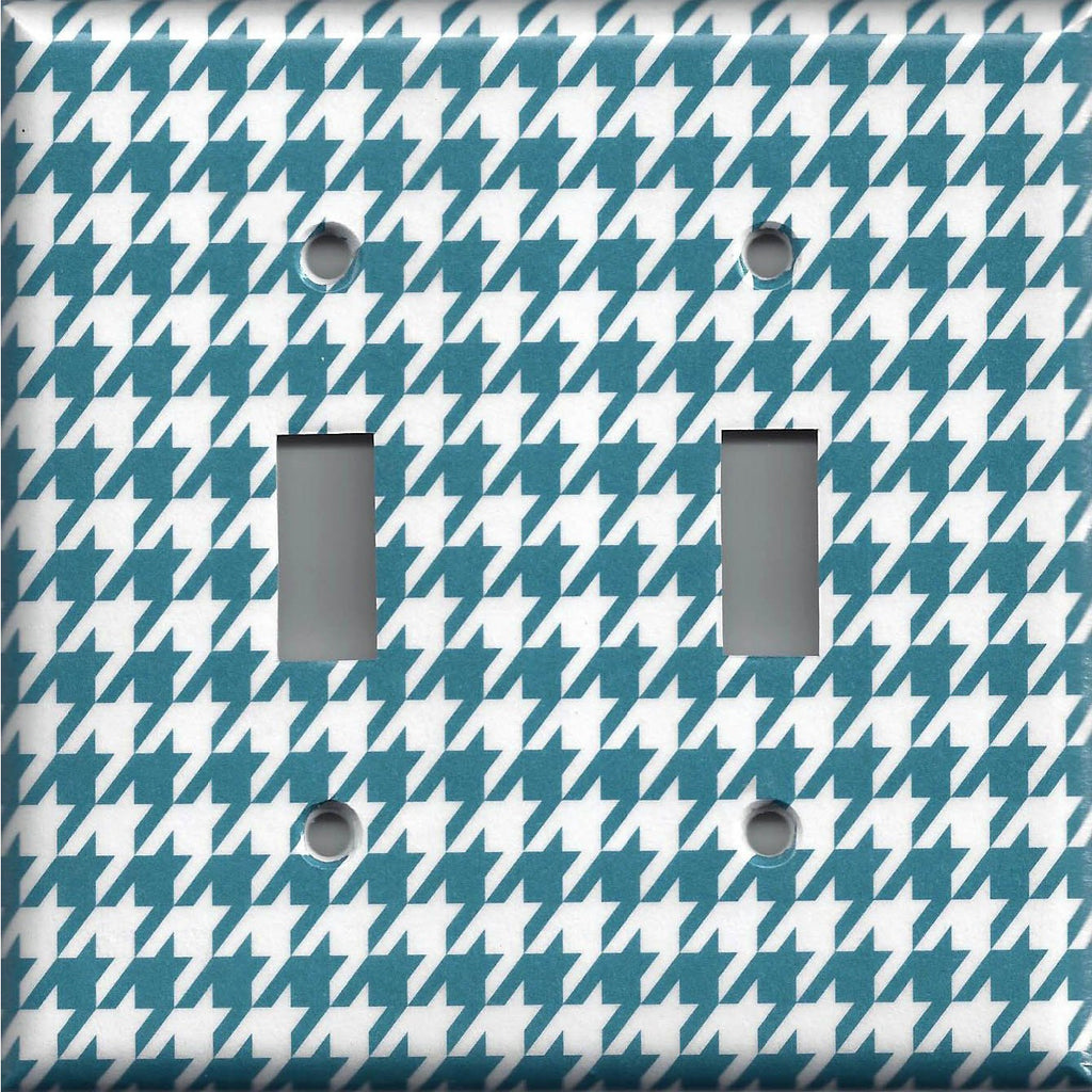 Double Light Switch Cover in Dark Teal Blue & White Houndstooth Handmade- Simply Chic Gal
