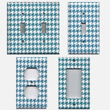 Dark Teal Blue & White Houndstooth Handmade Light Switch Plates & Outlet Covers- Simply Chic Gal