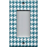 Single Rocker Decora GFI Outlet Cover in Dark Teal Blue & White Houndstooth- Simply Chic Gal