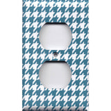 Wall Outlet Plate Cover in Dark Teal Blue & White Houndstooth Handmade- Simply Chic Gal