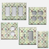 Teal Sage Green Maroon Distressed Medallions Light Switch Plates & Outlet Covers