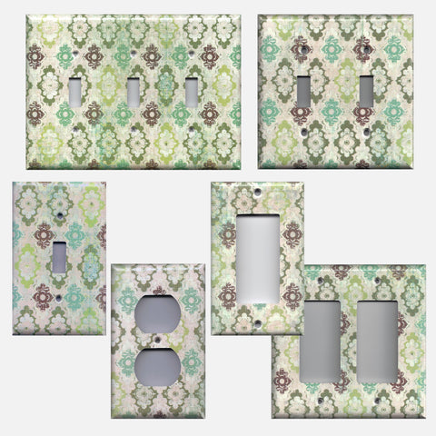 Teal Sage Green Maroon Distressed Farmhouse Rustic Medallions Light Switch Plates & Outlet Covers
