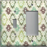 Combo Light Switch and Rocker Cover in Teal Sage Green Maroon Distressed Medallions