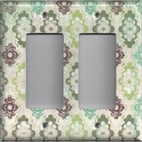 Double Rocker Decora Light Switch Cover in Teal Sage Green Maroon Distressed Medallions