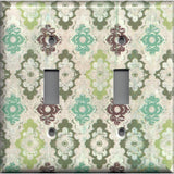 Double Toggle Light Switch Cover in Teal Sage Green Maroon Distressed Medallions