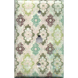 Phone Jack Cover in Teal Sage Green Maroon Distressed Medallions