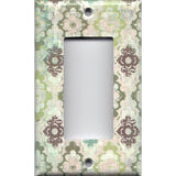 Single Rocker Decora GFCI Outlet Cover in Teal Sage Green Maroon Distressed Medallions