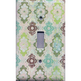 Single Toggle Light Switch Cover in Teal Sage Green Maroon Distressed Medallions