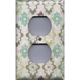Wall Outlet Plate Cover in Teal Sage Green Maroon Distressed Medallions
