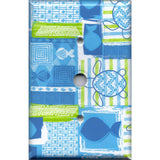 Cable Jack Cover in Blue Tropical Island Fish & Sea Turtles