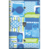 Phone Jack Cover in Blue Tropical Island Fish & Sea Turtles
