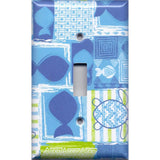 Single Toggle Light Switch Cover in Blue Tropical Island Fish & Sea Turtles