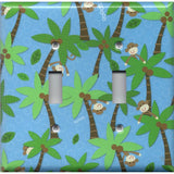 Double Toggle Light Switch Cover in Tropical Island Monkeys Palm Trees Handmade- Simply Chic Gal