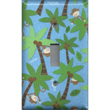 Single Toggle Light Switch Plate inin Tropical Island Monkeys Palm Trees Handmade- Simply Chic Gal