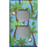 Wall Outlet Plate Cover in Tropical Island Monkeys Palm Trees Handmade- Simply Chic Gal