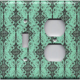 Combo Light Switch and Outlet Cover in Turquoise & Black Filigree Damask Print