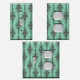 Turquoise & Black Filigree Damask Handmade Light Switch Covers & Outlet Covers- Simply Chic Gal