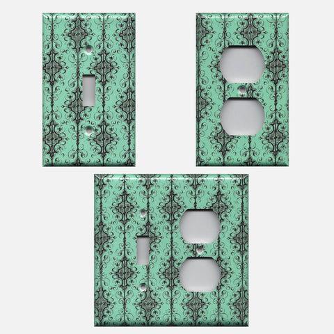 Turquoise Teal Blue Green Farmhouse Vintage Black Filigree Damask Light Switch Plates and Wall Outlet Covers