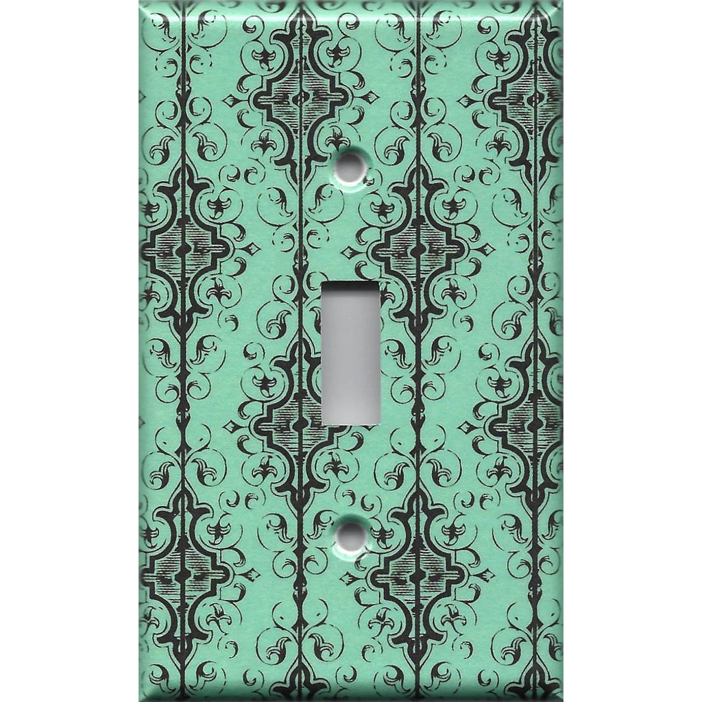 Single Toggle Light Switch Cover in Turquoise & Black Filigree Damask Handmade- Simply Chic Gal