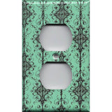 Wall Outlet Cover in Turquoise & Black Filigree Damask Handmade- Simply Chic Gal