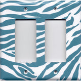 Double Rocker Decora Light Switch in Turquoise Blue & White Zebra Animal Print- Simply Chic Gal